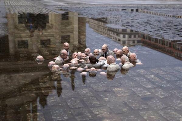 Políticos discutindo sobre o aquecimento global - Isaac Cordal