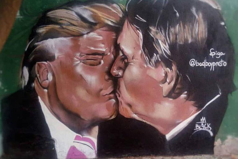 Grafite com o beijo de Jair Bolsonaro e Donald Trump, de Yuri Souza