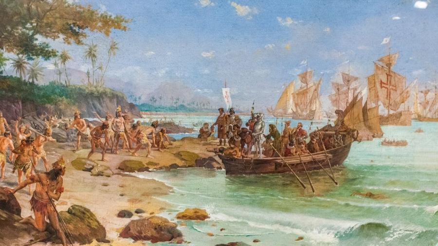 desembarque-de-cabral-em-porto-seguro-oleo-sobre-tela-de-oscar-pereira-da-silva-1904-1593811327984_v2_900x506 Acervo do Museu Histórico Nacional